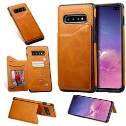 Luxury Multifunction Magnetic Card Slots Stand Calf Leather Phone Back Cover for Samsung Galaxy S10 Plus(6.4 inch) - Brown