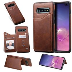 Luxury Multifunction Magnetic Card Slots Stand Calf Leather Phone Back Cover for Samsung Galaxy S10 Plus(6.4 inch) - Coffee