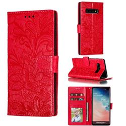 Intricate Embossing Lace Jasmine Flower Leather Wallet Case for Samsung Galaxy S10 Plus(6.4 inch) - Red