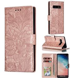 Intricate Embossing Lace Jasmine Flower Leather Wallet Case for Samsung Galaxy S10 Plus(6.4 inch) - Rose Gold