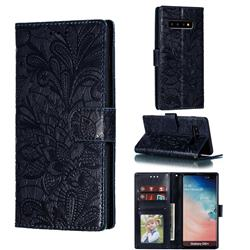 Intricate Embossing Lace Jasmine Flower Leather Wallet Case for Samsung Galaxy S10 Plus(6.4 inch) - Dark Blue