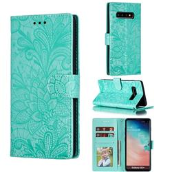 Intricate Embossing Lace Jasmine Flower Leather Wallet Case for Samsung Galaxy S10 Plus(6.4 inch) - Green