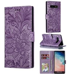 Intricate Embossing Lace Jasmine Flower Leather Wallet Case for Samsung Galaxy S10 Plus(6.4 inch) - Purple