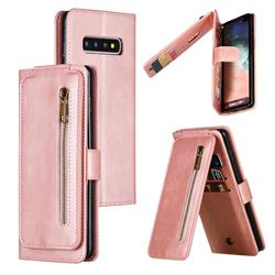 Multifunction 9 Cards Leather Zipper Wallet Phone Case for Samsung Galaxy S10 Plus(6.4 inch) - Rose Gold
