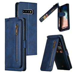 Multifunction 9 Cards Leather Zipper Wallet Phone Case for Samsung Galaxy S10 Plus(6.4 inch) - Blue