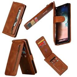Multifunction 9 Cards Leather Zipper Wallet Phone Case for Samsung Galaxy S10 Plus(6.4 inch) - Brown