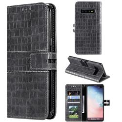 Luxury Crocodile Magnetic Leather Wallet Phone Case for Samsung Galaxy S10 Plus(6.4 inch) - Gray