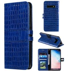 Luxury Crocodile Magnetic Leather Wallet Phone Case for Samsung Galaxy S10 Plus(6.4 inch) - Blue