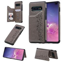 Yikatu Luxury Cute Cats Multifunction Magnetic Card Slots Stand Leather Back Cover for Samsung Galaxy S10 Plus(6.4 inch) - Gray