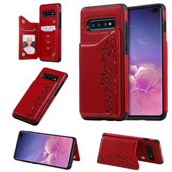 Yikatu Luxury Cute Cats Multifunction Magnetic Card Slots Stand Leather Back Cover for Samsung Galaxy S10 Plus(6.4 inch) - Red