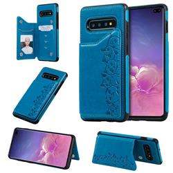 Yikatu Luxury Cute Cats Multifunction Magnetic Card Slots Stand Leather Back Cover for Samsung Galaxy S10 Plus(6.4 inch) - Blue