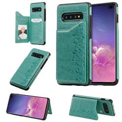 Yikatu Luxury Cute Cats Multifunction Magnetic Card Slots Stand Leather Back Cover for Samsung Galaxy S10 Plus(6.4 inch) - Green
