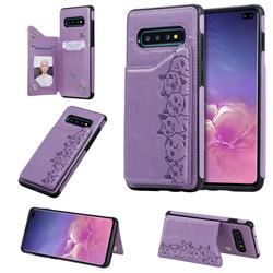 Yikatu Luxury Cute Cats Multifunction Magnetic Card Slots Stand Leather Back Cover for Samsung Galaxy S10 Plus(6.4 inch) - Purple