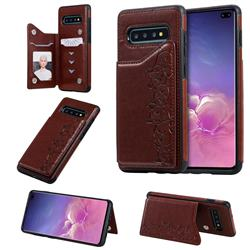Yikatu Luxury Cute Cats Multifunction Magnetic Card Slots Stand Leather Back Cover for Samsung Galaxy S10 Plus(6.4 inch) - Brown