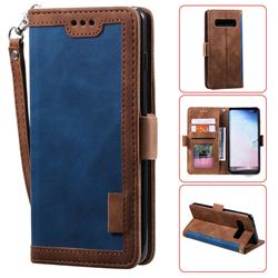 Luxury Retro Stitching Leather Wallet Phone Case for Samsung Galaxy S10 Plus(6.4 inch) - Dark Blue