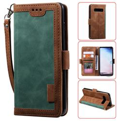 Luxury Retro Stitching Leather Wallet Phone Case for Samsung Galaxy S10 Plus(6.4 inch) - Dark Green