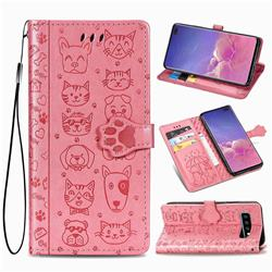 Embossing Dog Paw Kitten and Puppy Leather Wallet Case for Samsung Galaxy S10 Plus(6.4 inch) - Pink