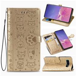 Embossing Dog Paw Kitten and Puppy Leather Wallet Case for Samsung Galaxy S10 Plus(6.4 inch) - Champagne Gold