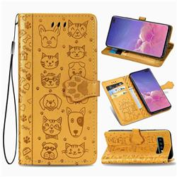 Embossing Dog Paw Kitten and Puppy Leather Wallet Case for Samsung Galaxy S10 Plus(6.4 inch) - Yellow