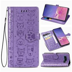 Embossing Dog Paw Kitten and Puppy Leather Wallet Case for Samsung Galaxy S10 Plus(6.4 inch) - Purple