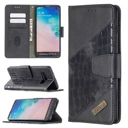 BinfenColor BF04 Color Block Stitching Crocodile Leather Case Cover for Samsung Galaxy S10 Plus(6.4 inch) - Black