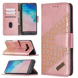 BinfenColor BF04 Color Block Stitching Crocodile Leather Case Cover for Samsung Galaxy S10 Plus(6.4 inch) - Rose Gold