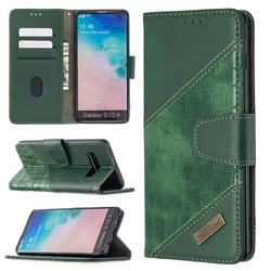 BinfenColor BF04 Color Block Stitching Crocodile Leather Case Cover for Samsung Galaxy S10 Plus(6.4 inch) - Green