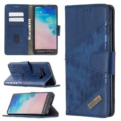 BinfenColor BF04 Color Block Stitching Crocodile Leather Case Cover for Samsung Galaxy S10 Plus(6.4 inch) - Blue