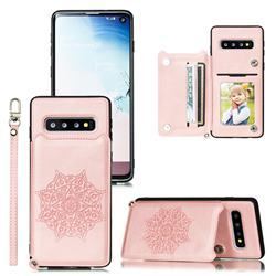 Luxury Mandala Multi-function Magnetic Card Slots Stand Leather Back Cover for Samsung Galaxy S10 Plus(6.4 inch) - Rose Gold