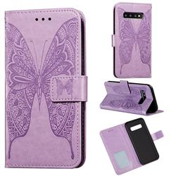 Intricate Embossing Vivid Butterfly Leather Wallet Case for Samsung Galaxy S10 Plus(6.4 inch) - Purple