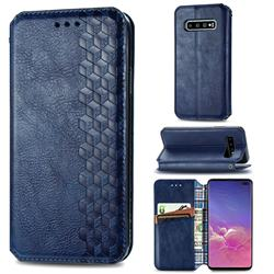 Ultra Slim Fashion Business Card Magnetic Automatic Suction Leather Flip Cover for Samsung Galaxy S10 Plus(6.4 inch) - Dark Blue