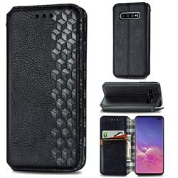 Ultra Slim Fashion Business Card Magnetic Automatic Suction Leather Flip Cover for Samsung Galaxy S10 Plus(6.4 inch) - Black