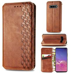 Ultra Slim Fashion Business Card Magnetic Automatic Suction Leather Flip Cover for Samsung Galaxy S10 Plus(6.4 inch) - Brown