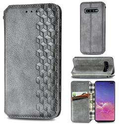 Ultra Slim Fashion Business Card Magnetic Automatic Suction Leather Flip Cover for Samsung Galaxy S10 Plus(6.4 inch) - Grey