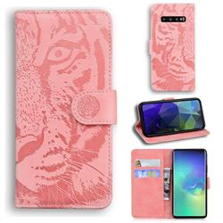 Intricate Embossing Tiger Face Leather Wallet Case for Samsung Galaxy S10 Plus(6.4 inch) - Pink