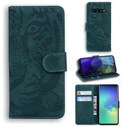 Intricate Embossing Tiger Face Leather Wallet Case for Samsung Galaxy S10 Plus(6.4 inch) - Green