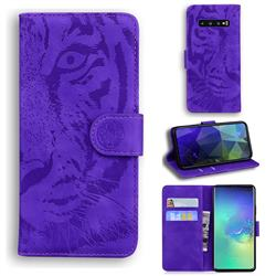Intricate Embossing Tiger Face Leather Wallet Case for Samsung Galaxy S10 Plus(6.4 inch) - Purple
