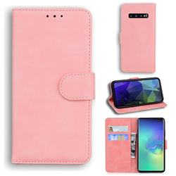 Retro Classic Skin Feel Leather Wallet Phone Case for Samsung Galaxy S10 Plus(6.4 inch) - Pink