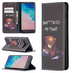 Chainsaw Bear Slim Magnetic Attraction Wallet Flip Cover for Samsung Galaxy S10 Plus(6.4 inch)