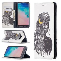Girl with Long Hair Slim Magnetic Attraction Wallet Flip Cover for Samsung Galaxy S10 Plus(6.4 inch)