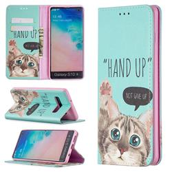 Hand Up Cat Slim Magnetic Attraction Wallet Flip Cover for Samsung Galaxy S10 Plus(6.4 inch)