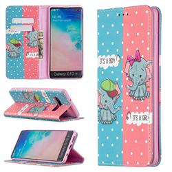 Elephant Boy and Girl Slim Magnetic Attraction Wallet Flip Cover for Samsung Galaxy S10 Plus(6.4 inch)