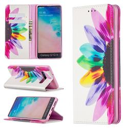 Sun Flower Slim Magnetic Attraction Wallet Flip Cover for Samsung Galaxy S10 Plus(6.4 inch)
