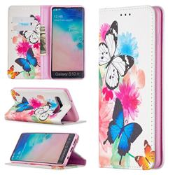 Flying Butterflies Slim Magnetic Attraction Wallet Flip Cover for Samsung Galaxy S10 Plus(6.4 inch)