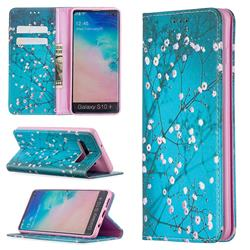 Plum Blossom Slim Magnetic Attraction Wallet Flip Cover for Samsung Galaxy S10 Plus(6.4 inch)