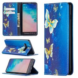 Gold Butterfly Slim Magnetic Attraction Wallet Flip Cover for Samsung Galaxy S10 Plus(6.4 inch)