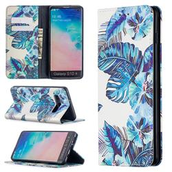 Blue Leaf Slim Magnetic Attraction Wallet Flip Cover for Samsung Galaxy S10 Plus(6.4 inch)