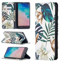 Flower Leaf Slim Magnetic Attraction Wallet Flip Cover for Samsung Galaxy S10 Plus(6.4 inch)