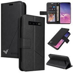 GQ.UTROBE Right Angle Silver Pendant Leather Wallet Phone Case for Samsung Galaxy S10 Plus(6.4 inch) - Black