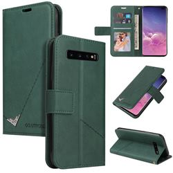 GQ.UTROBE Right Angle Silver Pendant Leather Wallet Phone Case for Samsung Galaxy S10 Plus(6.4 inch) - Green